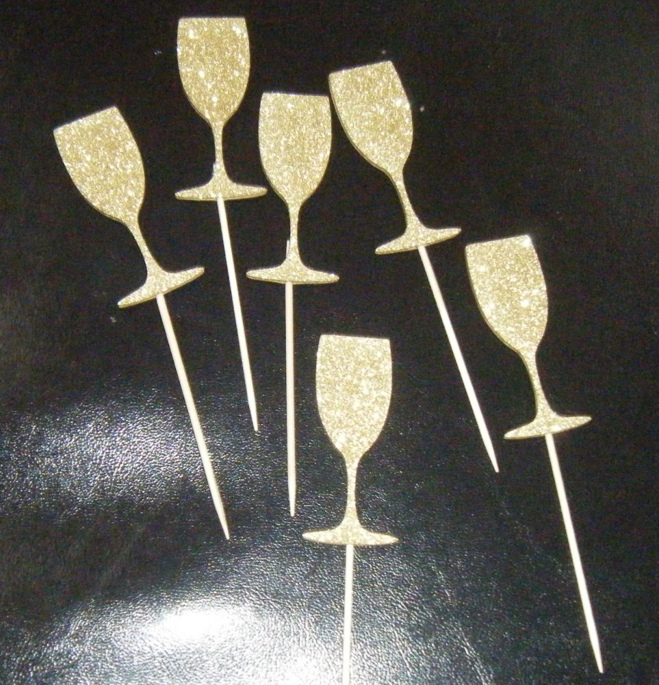 Glitter or Plain Cupcake Cake Picks - Wine Champagne Glass