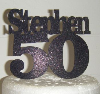 Chunky Number and name Custom Cake Topper