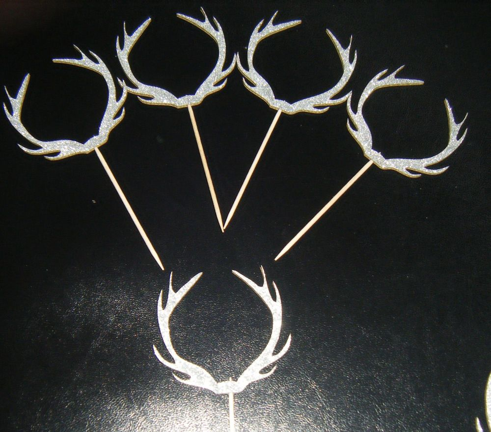 Glitter or Plain Card Antlers Cupcake Picks