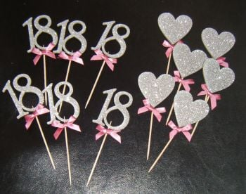 Glitter or Plain CUSTOM  ORDER Cupcake Cake picks Large/Ribbons etc