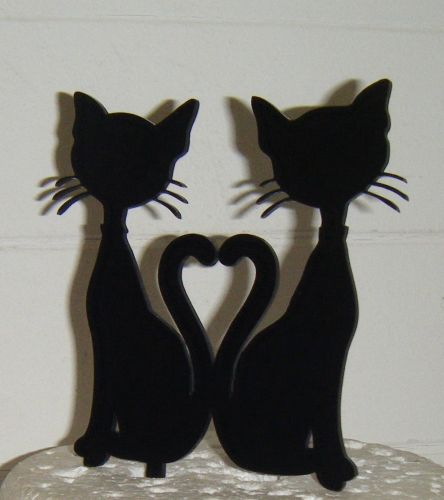 Cat Couple Heart tails  Silhouette Cake Topper