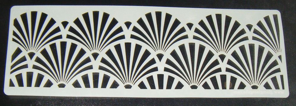 Art deco Fan Design Cake decorating stencil Airbrush Mylar Polyester Film