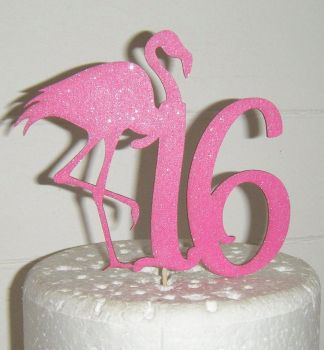 10, 16, 18, etc or any number with Flamingo Cake Topper