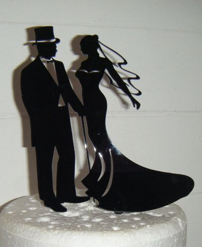 Wedding couple Silhouette Cake Topper Top Hat