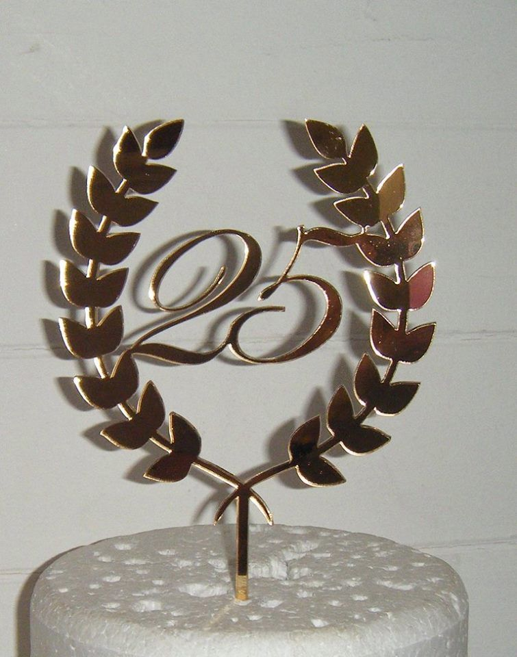 25, 16, 18, 40, etc or any number with Laurel Leaf design Cake Topper