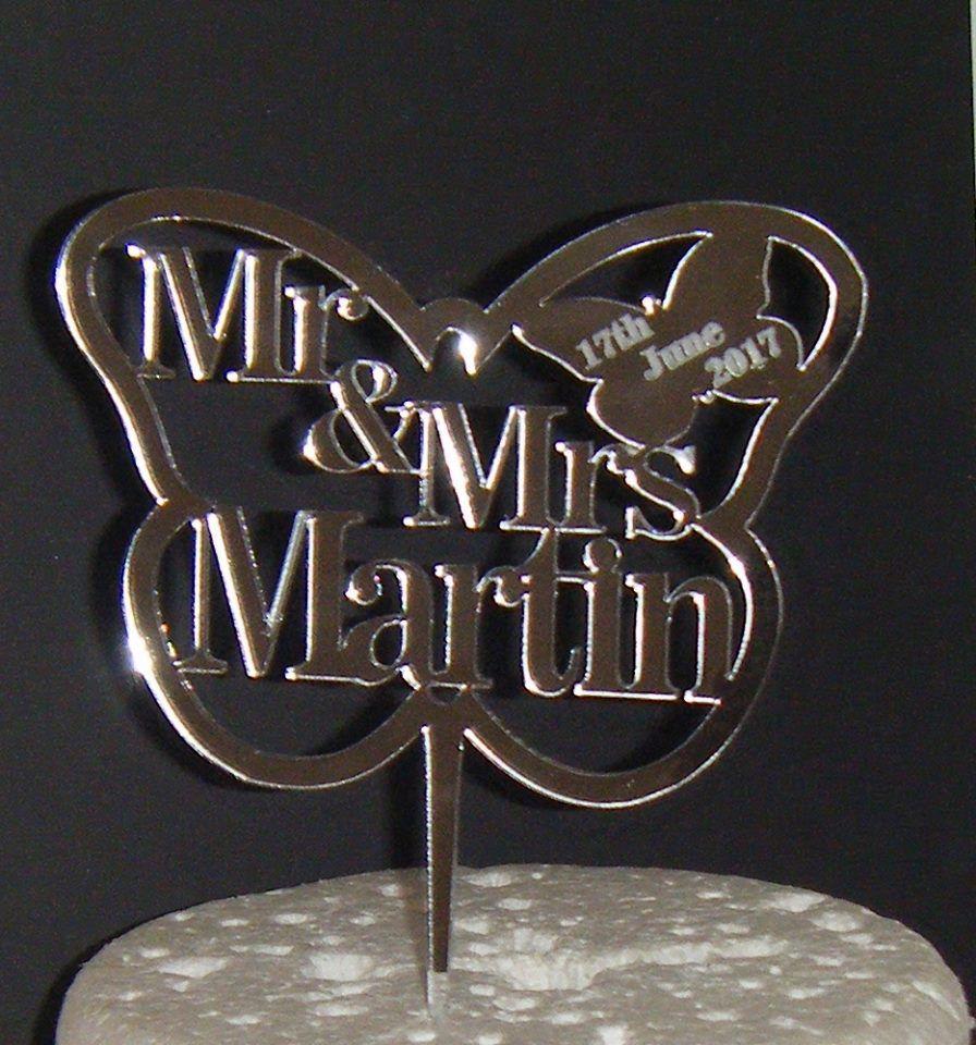 Mr + Mrs Name Butterfly Cake Topper