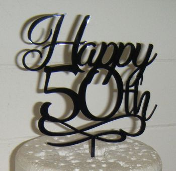 Happy 21st, 30th 40th 50th 60th etc Swirl Cake Topper