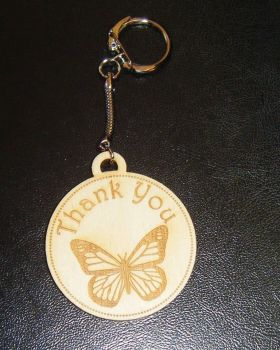 Thank You butterfly keyring wooden engraved