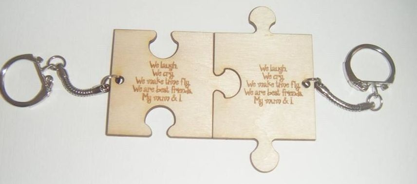 We Laugh We Cry My Mum and I  Jigsaw Piece Double Keyring