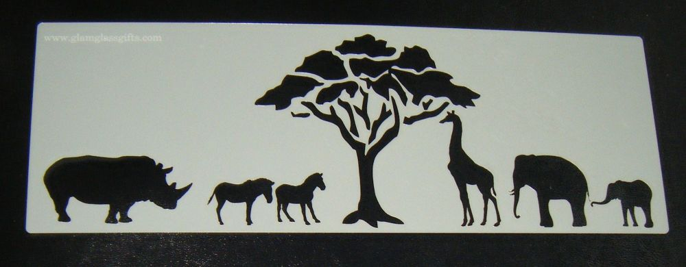 African animals Safari Cake stencil 2