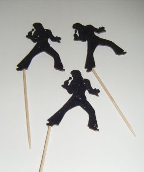 Glitter or Plain Card Elvis Silhouette cupcake picks