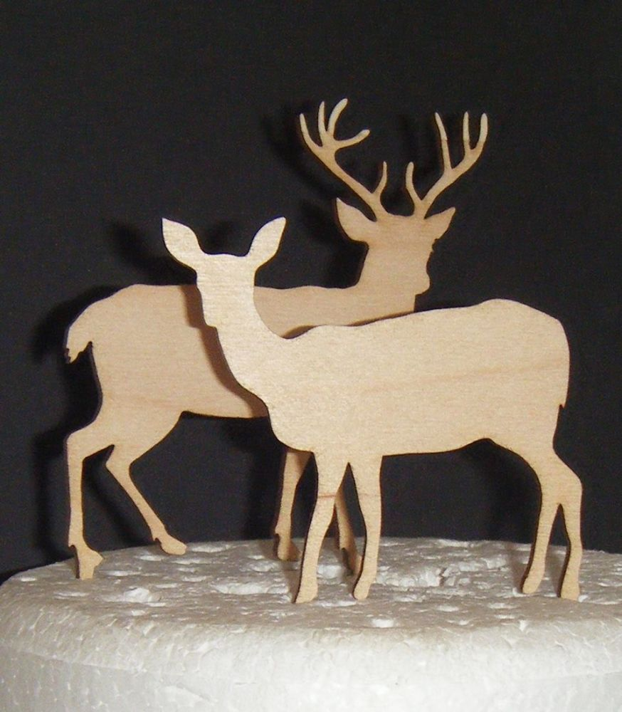 Wedding Pair of Deer Stag and Doe Silhouette Cake Topper