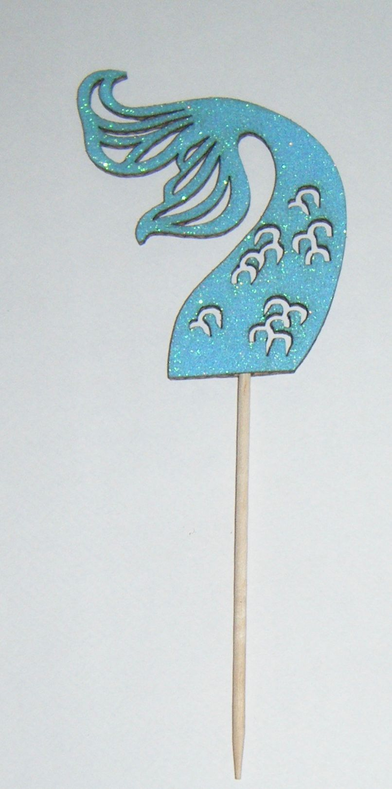 Glitter or Plain Card Mermaid Tail 2 Silhouette cake picks