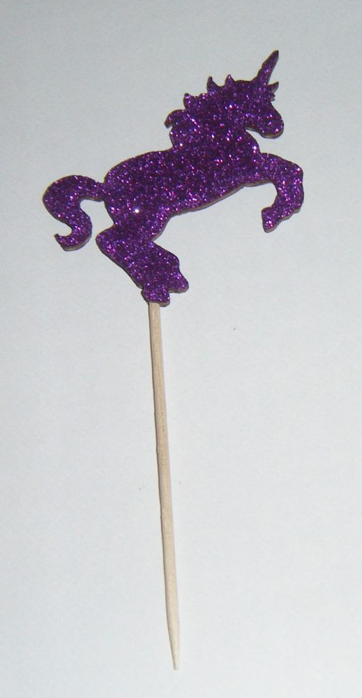 Glitter or Plain Card Unicorn Silhouette cake picks