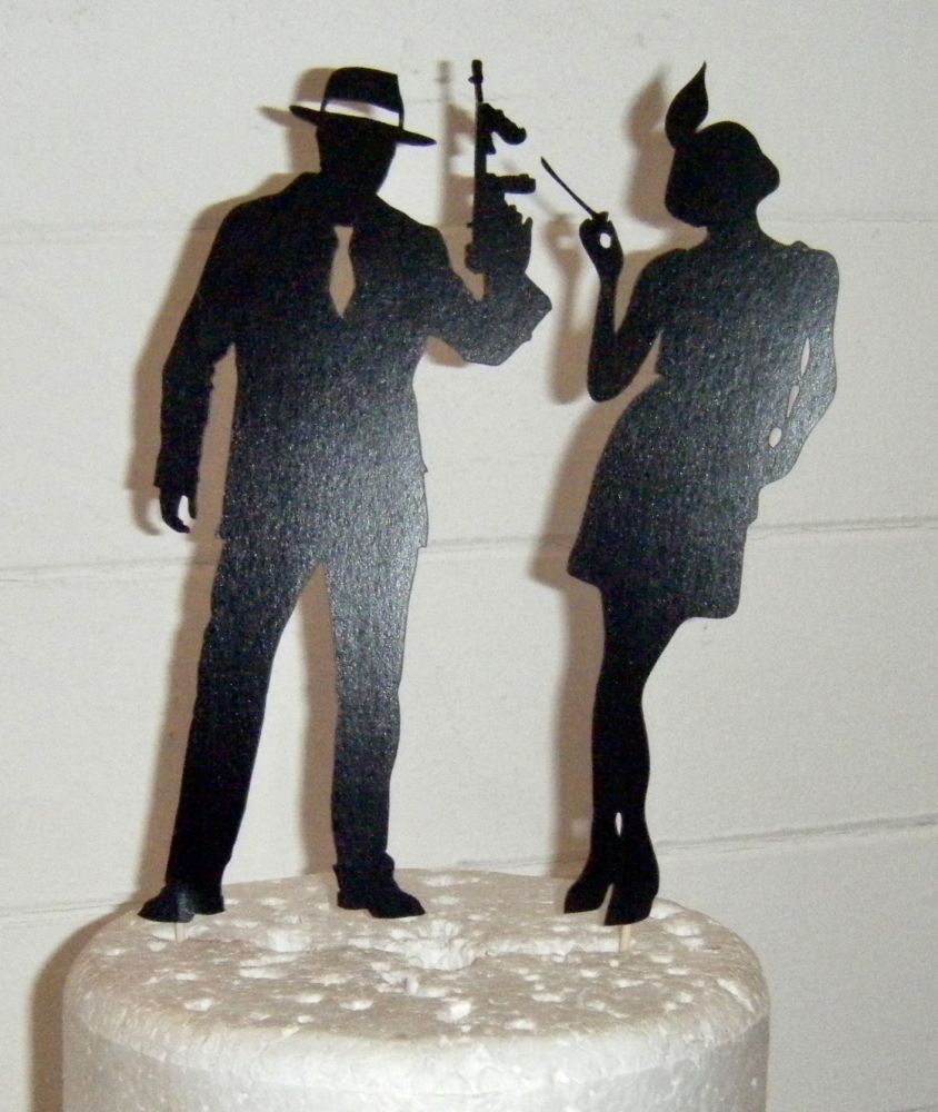 Art deco Gangster couple Silhouette Cake Topper