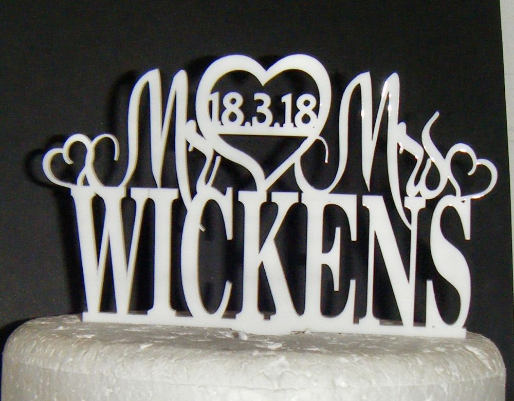 Mr + Mrs Name with date in heart Cake Topper