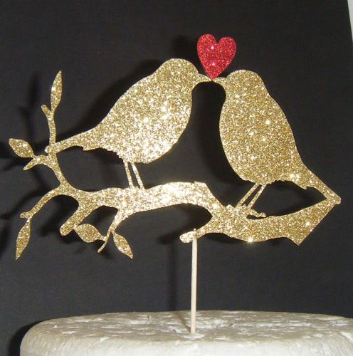Love birds with Heart on branch Silhouette Cake Topper