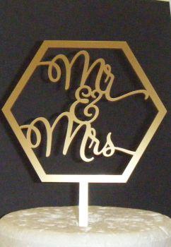 Geometric Mr + Mrs Cake Topper
