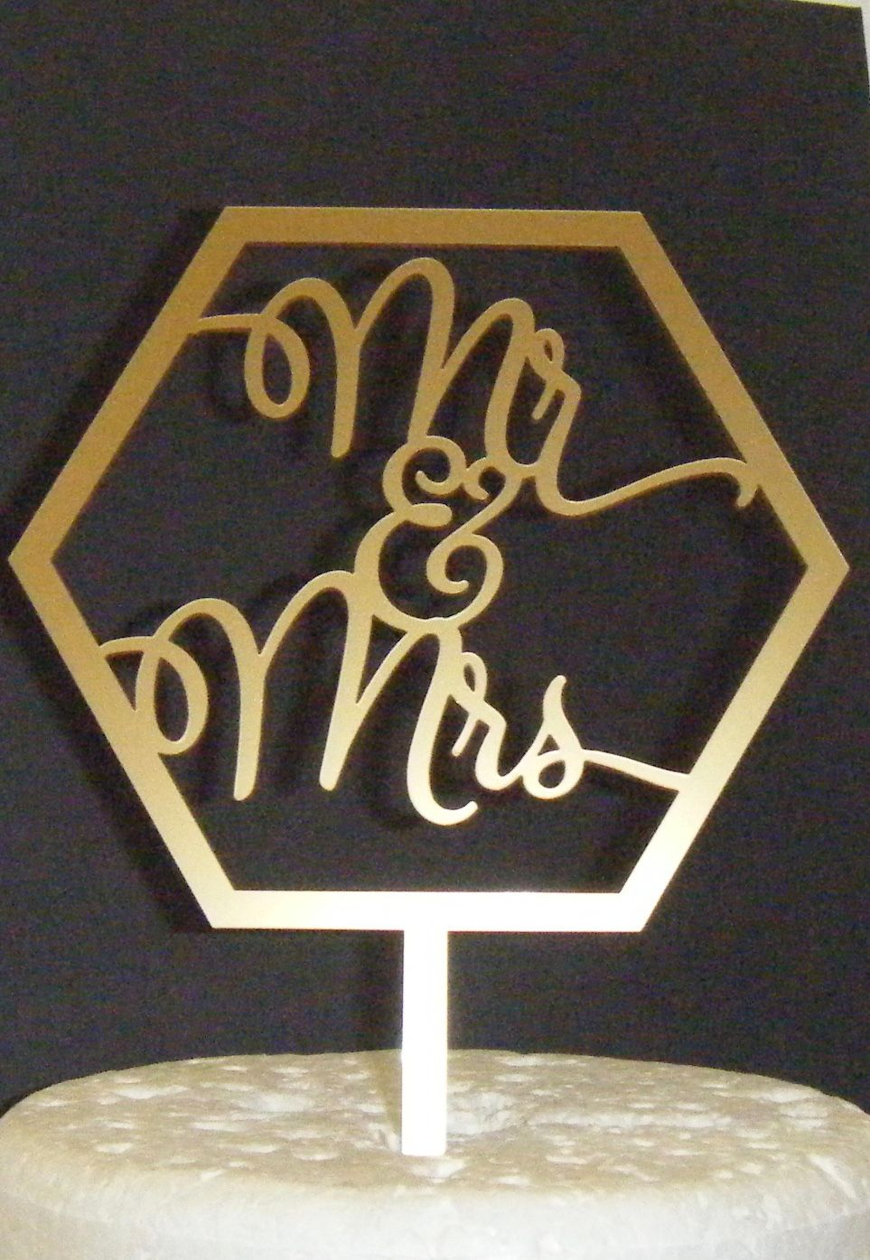 Mr + Mrs Cake Topper  Geometric