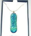 Aqua Blue green Dichroic Glass Pendant 925 Sterling Silver Necklace