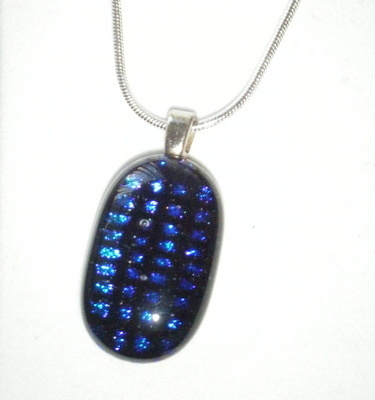 Blue grid Dichroic Glass Pendant 925 Silver Necklace