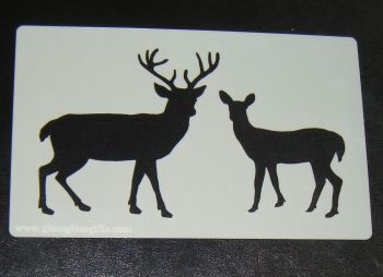 Stag and doe cake or craft stencil