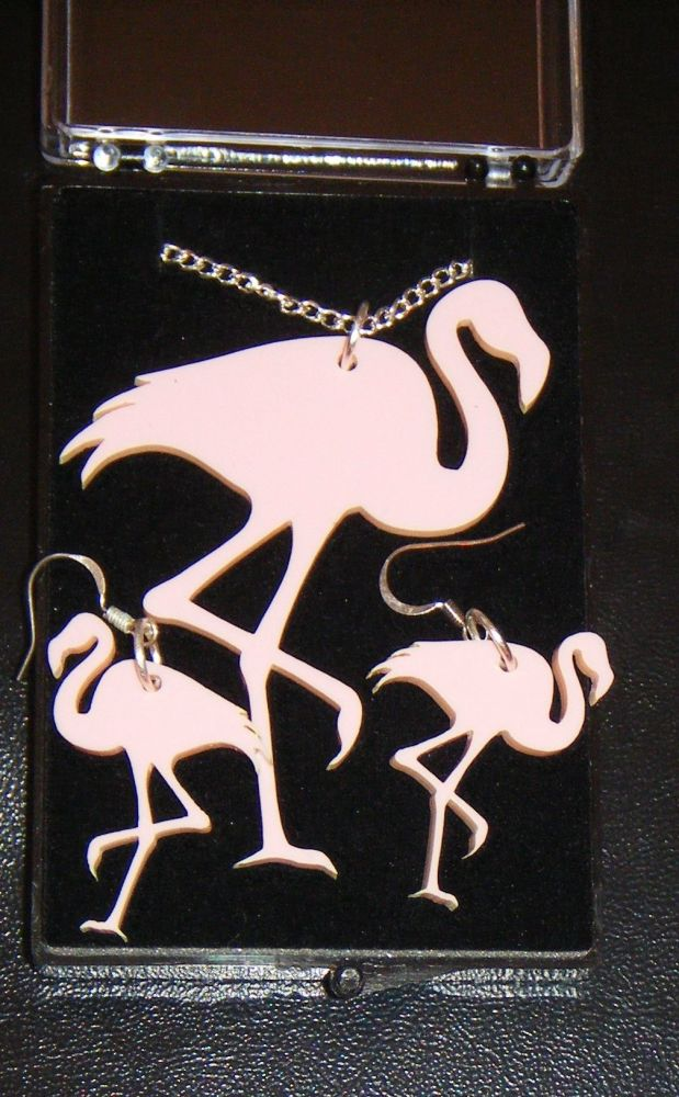 Flamingo Earring and Pendant set  Necklace