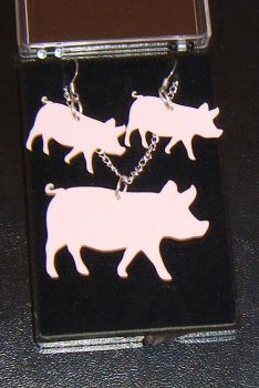 Pig Earring and Pendant set  Necklace