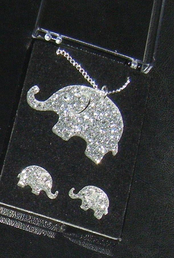 Elephant Earring and Pendant Set  Necklace