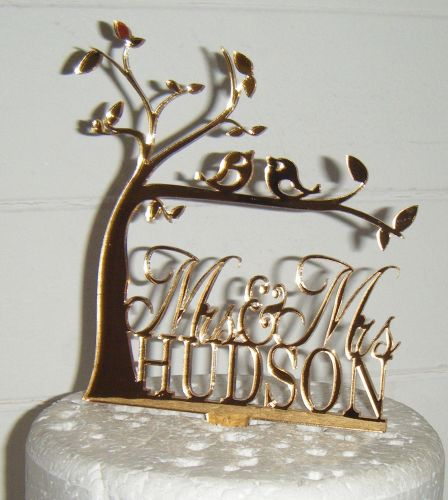 Wedding Tree silhouette love birds Name custom Cake Topper