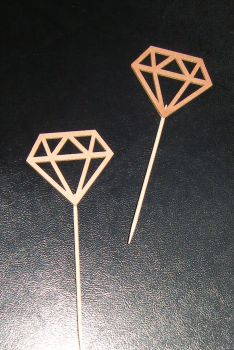 Glitter or Plain custom made Cupcake Cake picks - Diamond shapes