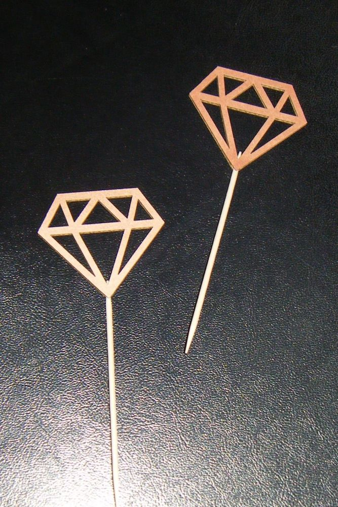 Glitter or Plain Cupcake Cake Picks - Diamond Shapes