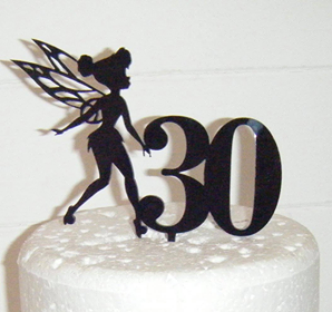 Tinkerbell Fairy with number Silhouette Cake Topper  style 2
