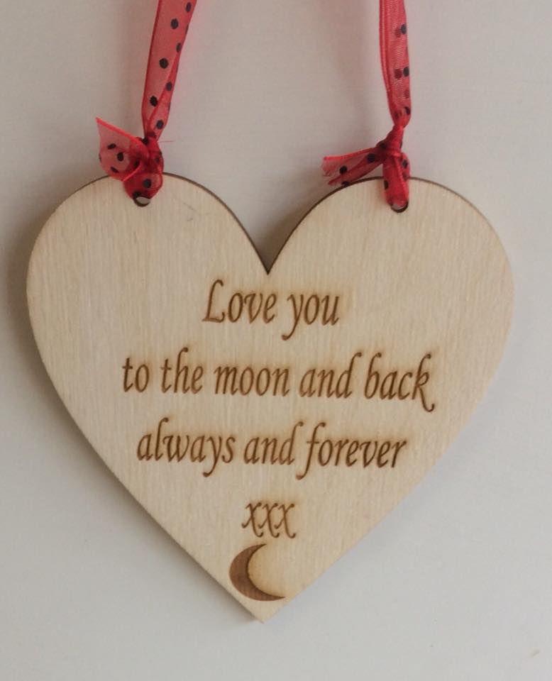 Love to moon wooden plaque