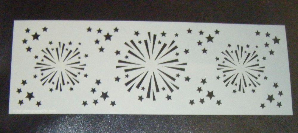 Fireworks Cake decorating stencil Airbrush Mylar Polyester Film