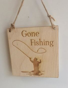 Gone Fishing wooden plaque