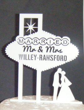 Las Vegas Wedding couple Silhouette Cake Topper custom order