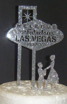 Las Vegas Wedding couple Silhouette Cake Topper style 3
