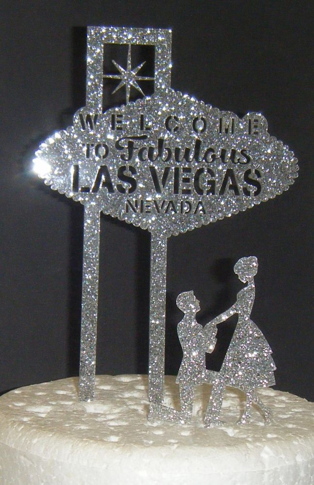 Las Vegas Wedding couple Silhouette Cake Topper style 3