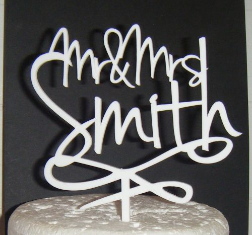 Mr + Mrs Name swirl based Cake Topper