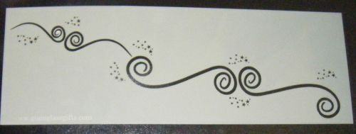 Scroll swirl with stars  Design Cake decorating stencil Airbrush Mylar Poly