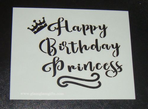 Happy Birthday Princess With Crown Airbrush Craft Cake Stencil