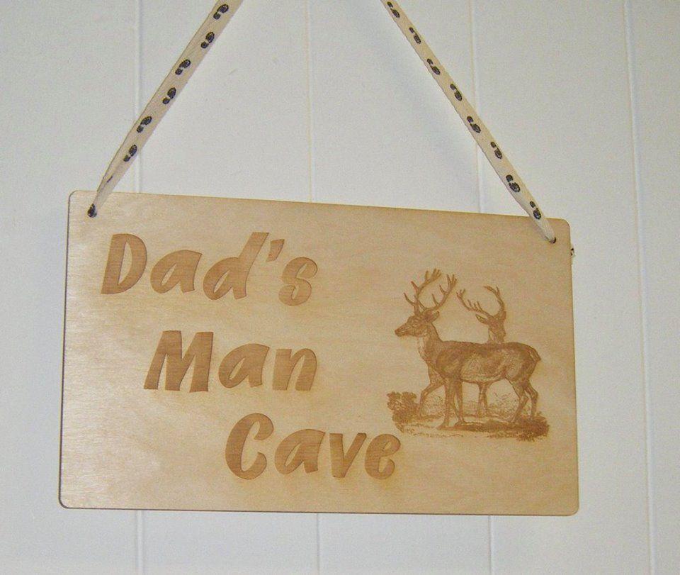 Dad's Man Cave With Deer  - Wooden Plaque