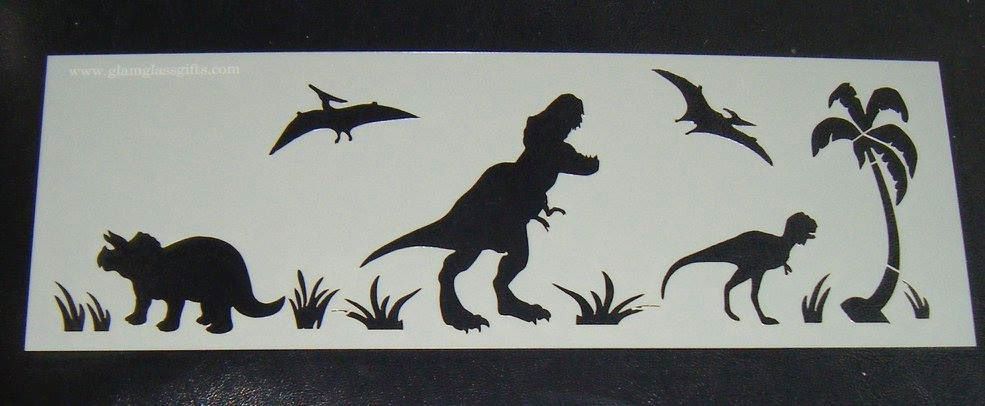 Dinosaur Design Cake decorating stencil Airbrush Mylar Polyester Film