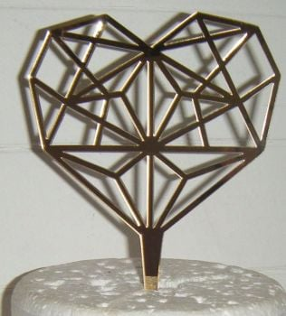 Geometric Heart Silhouette Cake Topper