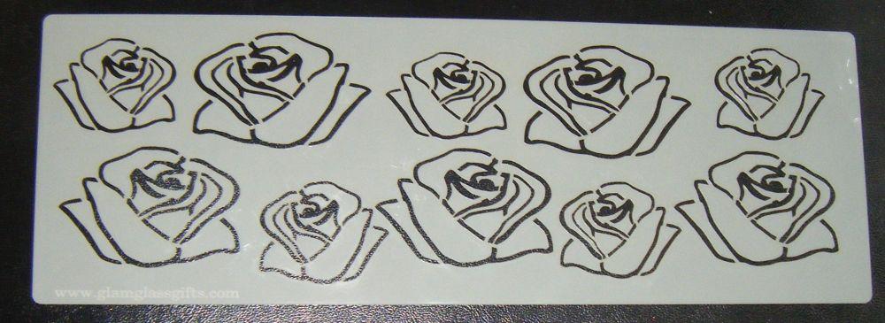Rose Flower Design Cake decorating stencil Airbrush Mylar Polyester Film