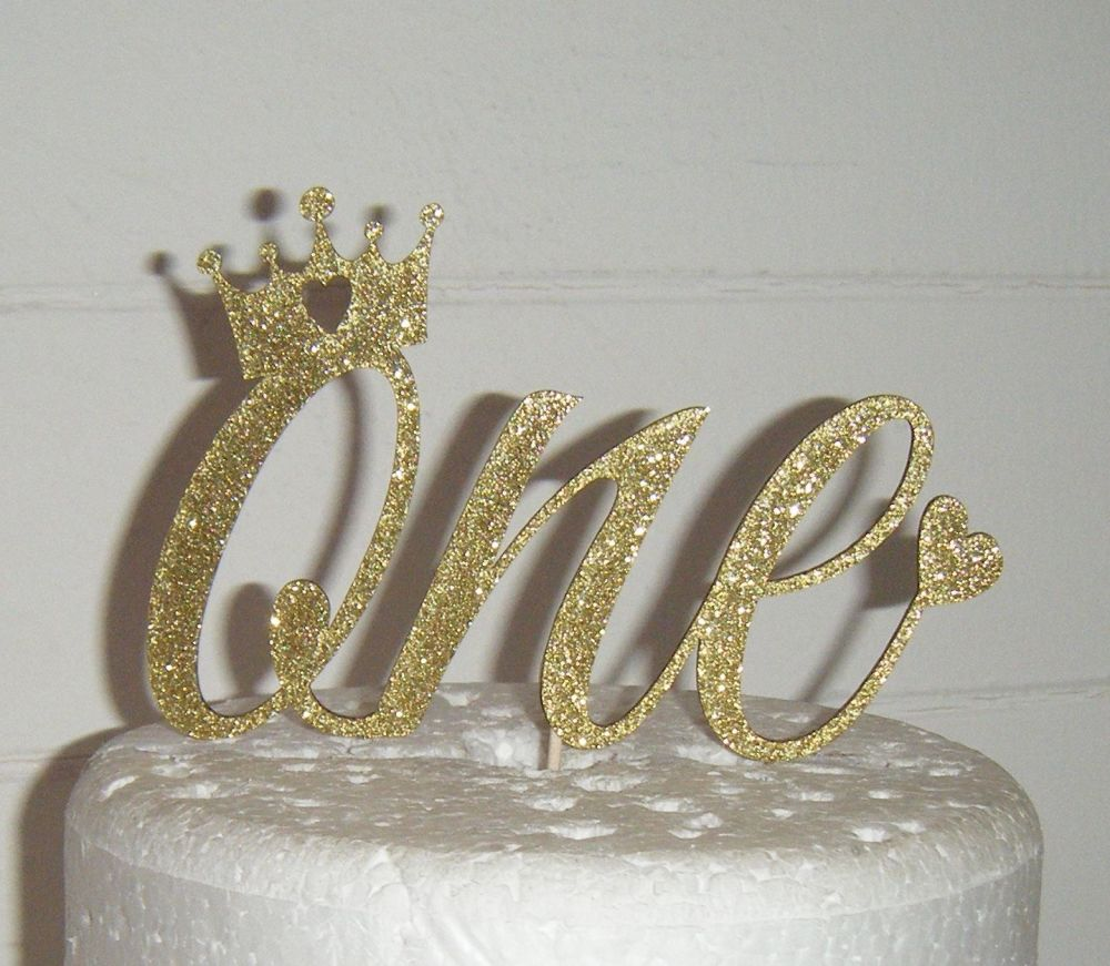 Number One with Crown and heart Cake Topper