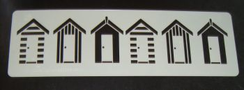 Beach Huts in a row Stencil
