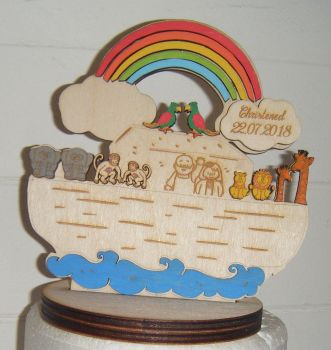 Wooden Painted Noah's arc  Christening/new baby Cake topper/Gift
