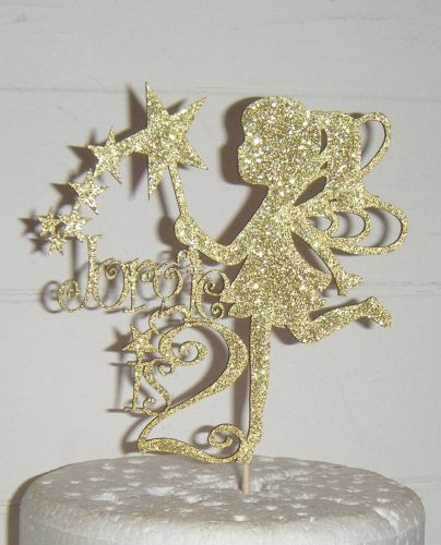 10, 16, 18, etc or any number and name with Fairy Cake Topper